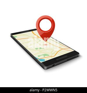 Black smartphone with map gps navigation application with pin point to current location isolated on white. Vector illustration - Stock Photo