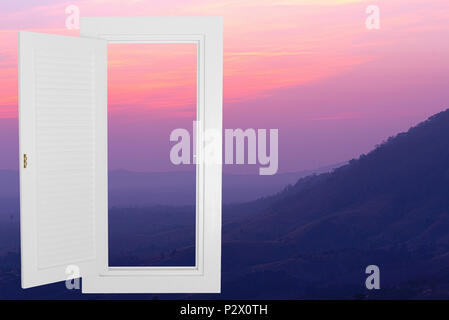 White window open frame with sunset mountain, horizontal landscape idea concept background. - Stock Photo