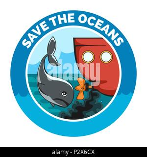Sad whale and old wessel with oil pollution. Ecological emblem with wording Save the Oceans. Vector Illustration. - Stock Photo