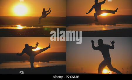 4 in 1 - Karate man is performed capoeira fighting in front of orange sunset - Stock Photo