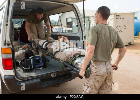 U.S. Navy Lt. Cmdr. Robert Oldt, an Emergency Physician, and Cpl. Kenneth Bourgeois, a Refrigeration/Air Conditioning Technician, both with Special Purpose Marine Air-Ground Task Force-Crisis Response-Africa unload a simulated casualty for patient movement and triage during a mass casualty drill, August 1, 2016. SPMAGTF-CR-AF Medical personnel were put to the test with realistic medical emergencies and taught to improvise during unforeseen circumstances to enhance mission readiness in the event of a future crisis. (U.S. Marine Corps Photo by Sgt. Kassie McDole.) - Stock Photo
