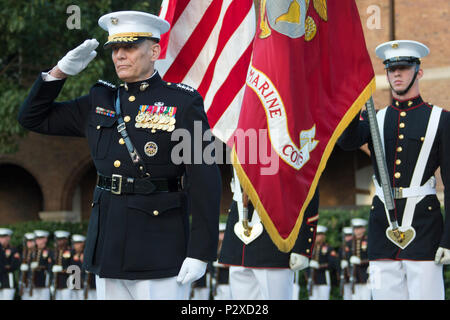 Assistant Commandant to the Marine Corps Gen. John M. Paxton salutes during his retirement ceremony at Marine Barracks Washington, Washington, D.C., Aug. 4, 2016. Paxton retired after 42 years of serving in the United States Marine Corps. (U.S. Marine Corps photo by Cpl. Samantha K. Draughon/Released) - Stock Photo