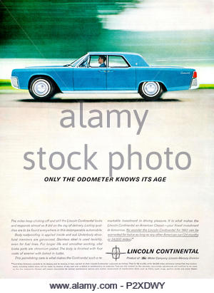 Vintage advertising for the Lincoln Continental 1961 - Stock Photo