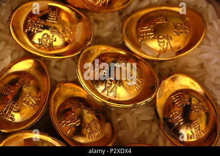Chinese lucky gold coins - Stock Photo