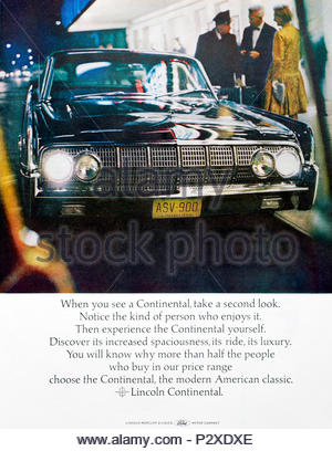 Vintage advertising for the Lincoln Continental 1964 - Stock Photo
