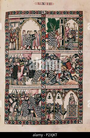 Santa Maria Canticle, # 63-F92R. The Virgin Mary saving a rider at the battle of San Esteban de Gormaz. Madrid, Libray of San Lorenzo del Escorial monastery. Author: Alfonso X of Castile the Wise (1221-1284). Location: MONASTERIO-BIBLIOTECA-COLECCION, SAN LORENZO DEL ESCORIAL, MADRID, SPAIN. - Stock Photo