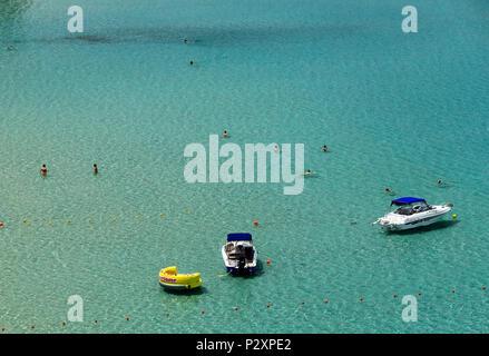 Voulisma beach, Iston ('Kalo Chorio') village, Agios Nikolaos Municipality, Lasithi, Crete, Greece. - Stock Photo