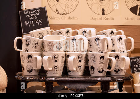 American Activist mugs for sale at Fish's Eddy in lower Manhattan, New York City. - Stock Photo