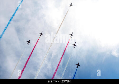 The RAF Red Arrows display team - Stock Photo