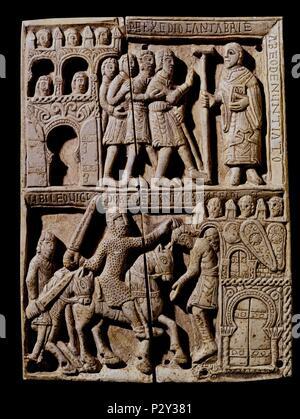 Ivory box from San Millan de la Cogolla. Capture of the Cantabria by Leovigildo. 11th century. Romanesque art. Madrid, National Museum of Archeology. Location: MUSEO ARQUEOLOGICO NACIONAL-COLECCION, MADRID, SPAIN. - Stock Photo