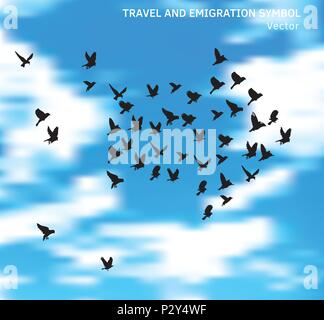 Travel and emigration birds symbol in blue clouds sky. - Stock Photo