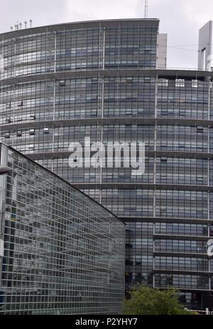 STRASBOURG, BR, FRANCE - JUNE 13, 2018: Parliament Building in Strasbourg, European Parliament in Strasbourg under overcast sky - Stock Photo