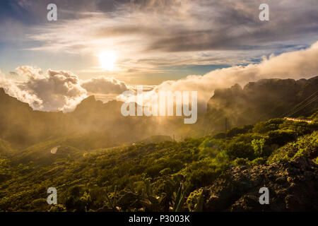 Amazing sunset landscape view Maska canyon in rural park Teno on Tenerife island Spain - Stock Photo