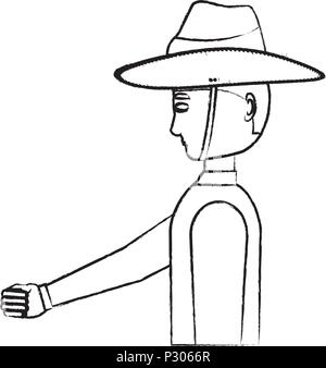 Anzac soldier standing over white background, vector illustration - Stock Photo