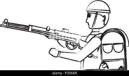 Anzac soldier with the equipment and weapon over white background, vector illustration - Stock Photo