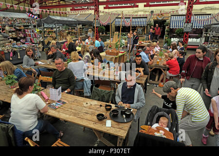 Altrincham successful retail town market (similar to Borough Market), Trafford Council, Greater Manchester, North West England, UK - Stock Photo