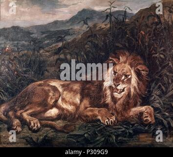 EL LEON - SIGLO XIX. Author: Eugene Delacroix (1798-1863). Location: MUSEUM OF FINE ARTS, BORDEAUX, FRANCE. - Stock Photo