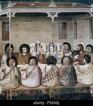 LA ULTIMA CENA - 1302-1305 - FRESCO - TRECENTO ITALIANO - ESCUELA FLORENTINA. Author: Giotto di Bondone (1266-1337). Location: CAPILLA DE LOS SCROVEGNI, PADUA, ITALIA. - Stock Photo