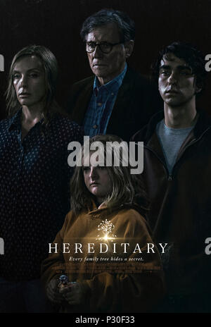 Hereditary (2018) dirtected by Ari Aster and starring Alex Wolff, Toni Collette, Milly Shapiro and Gabriel Byrne. A daughter looks into her family's past on the death of her mother and discovers 'Evil runs in the family'. - Stock Photo