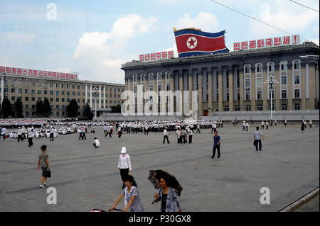 Pyongyang, North Korea, headquarters of the Labor Party of Korea on the Kim Il Sung Square - Stock Photo