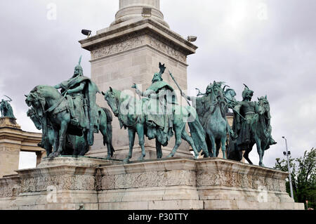 Sculptural group of equestrian ridersHungary, Millennium Monument or Millenary Monument, Hero's Square, Budapest, Europe, - Stock Photo