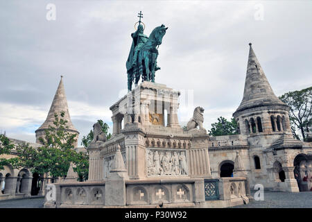 The equestrian statue of Stephen I of Hungary threw the arch, Fisherman's Bastion, Hungary, Budapest, Europe, - Stock Photo
