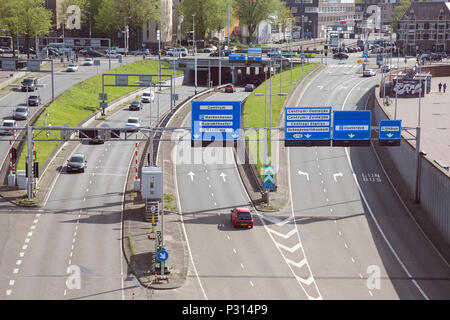 Amsterdam, Holland, May 2018, a view of a main road intersection - Stock Photo