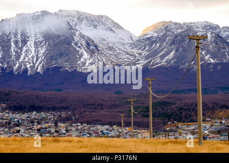 Transmission towers lead to the city center of Ushuaia. Houses create a gap in the forest that is coloured purple because of the autumn. - Stock Photo