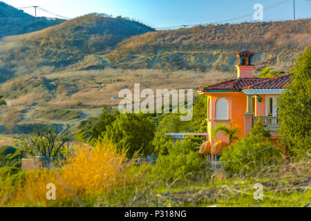 California home in the trails of San Clemente. Views of the hills and trails. - Stock Photo