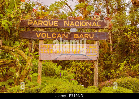 Sign into Volcan Baru National Park inear Boquete in Panama - Stock Photo