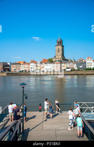 view at Deventer wit famous Lebuinis church, Overijssel, Holland - Stock Photo
