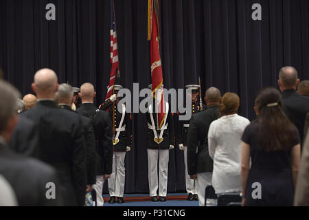 U.S. Marine Corps Color Guard presents colors during the Brigadier General Selection Orientation Course (BGSOC) ceremony at Crawford Hall, Marine Barracks Washington, Washington D.C., Aug. 15, 2016. BGSOC is a week long course held in the National Capital Region to indoctrinate newly promoted and selected brigadier generals and senior executives into their new rank and responsibilities. (U.S. Marine Corps photo by Lance Cpl. Stephon L. McRae) - Stock Photo