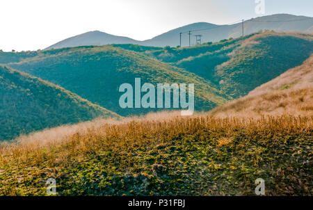 Hiking the hills in San Clemente Calfiornia on a sunny day - Stock Photo