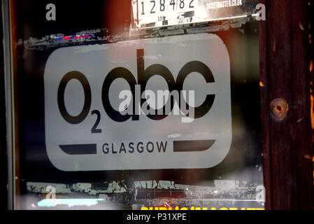 Glass Front door THE O₂ ABC is a nightclub and music venue on Sauchiehall Street, in the centre of Glasgow was  badly damaged in GSA art school fire - Stock Photo