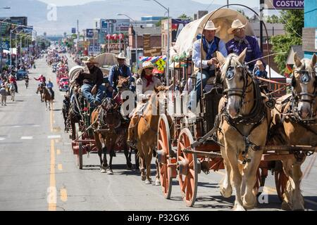 Reno, Nevada, USA. 16th June, 2018. Saturday, June 16, 2018.Members of the Reno Rodeo Cattle Drive Wagons and Committe move along the parade route on South Virginia Street in Reno, Nevada. The Reno Rodeo Cattle Drive celebrates the rich legacy of the 'Wild Wild West.'' For five days leading up.to the Reno Rodeo, up to 60 guests join a team of volunteer cowboys to drive 300 head of rodeo steers from Doyle, California, to Reno.The Reno Rodeo is a Professional Rodeo Cowboys Association (PRCA) sanctioned sporting event, and one of the top five rodeos in North America. Reno Rodeo is a non-prof - Stock Photo