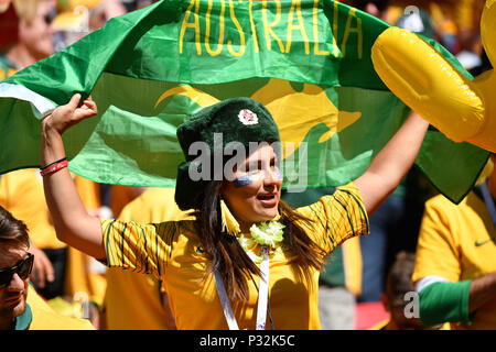 Kazan, Russia. 16th June, 2018. Female fan, Soccer fan, Woman France (FRA) -Australia (AUS) 2-1, Preliminary round, Group C, Match 5, on 16.06.2018 in Kazan, Kazan Arena. Football World Cup 2018 in Russia from 14.06. - 15.07.2018. | usage worldwide Credit: dpa/Alamy Live News - Stock Photo