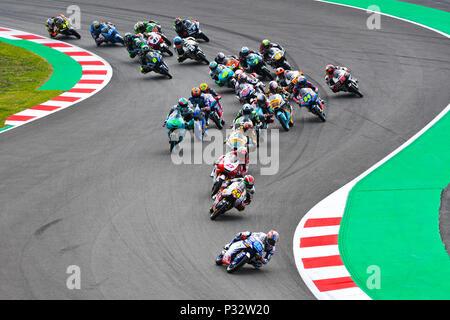 RACE START during the Moto3 race of the race of the Catalunya Grand Prix at Circuit de Barcelona racetrack in Montmelo, near Barcelona on June 17, 2018 (Photo: Alvaro Sanchez) - Stock Photo