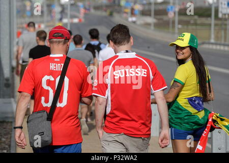 Rostov, Russia. 17th June, 2018. Fans of the national soccer teams of Brazil and Switzerland arrive at the Rostov Arena for the FIFA World Cup Russia 2018 Group E match between Brazil and Switzerland in Rostov, Russia, 17 June 2018. Credit: Sebastiao Moreira/EFE/Alamy Live News - Stock Photo