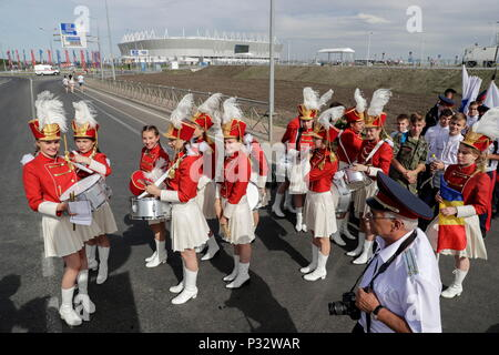 Rostov, Russia. 17th June, 2018. Members of a Russian students' music band prepare near the Rostov Arena before the FIFA World Cup Russia 2018 Group E match between Brazil and Switzerland in Rostov, Russia, 17 June 2018. Credit: Sebastiao Moreira/EFE/Alamy Live News - Stock Photo