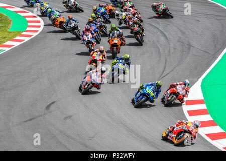RACE START during the MotoGP race of the race of the Catalunya Grand Prix at Circuit de Barcelona racetrack in Montmelo, near Barcelona on June 17, 2018 (Photo: Alvaro Sanchez) - Stock Photo