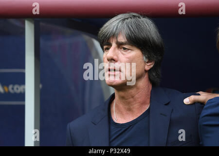 Moscow, Russia. 17th June, 2018. coach Joachim Loew (Germany) singing the national anthem. GES/Football/World Cup 2018 Russia: Germany - Mexico, 17.06.2018 GES/Soccer/Football/Worldcup 2018 Russia: Germany vs Mexico, Moscow, June 17, 2018 | usage worldwide Credit: dpa/Alamy Live News - Stock Photo