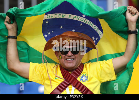 Rostov Do Don, Russia, 17 June 2018.  Brazil fan before the match between Brazil and Switzerland valid for the 2018 World Cup held at the Rostov Arena in Rostov-on-Don, Russia. (Photo: Rodolfo Buhrer/La Imagem/Fotoarena) Credit: Foto Arena LTDA/Alamy Live News Credit: Foto Arena LTDA/Alamy Live News - Stock Photo