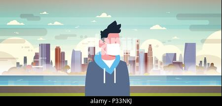 man in mask over nature air pollution city landscape plant pipe dirty waste water polluted environment atmosphere male portrait flat - Stock Photo