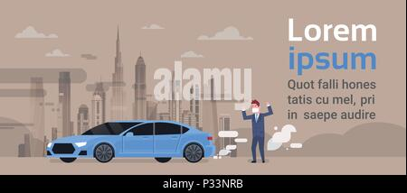 angry man in mask car emissions of exhaust gases carbon dioxide over smog nature pollution city landscape atmosphere over grey background, full length, copy space flat - Stock Photo