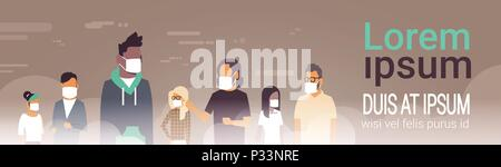mix race people group in mask over smog nature air pollution city landscape atmosphere male female over grey background portrait copy space banner flat - Stock Photo