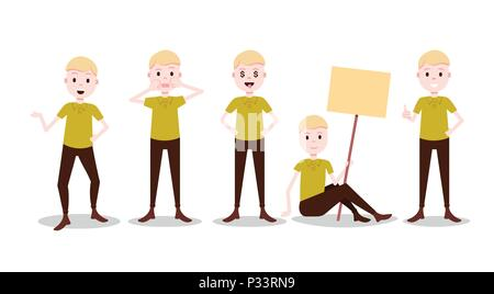 set boy character personage diversity poses male template for design