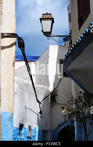 alleyway in kasbah of Rabat, Morocco, with houses typically painted in white and blue colors - Stock Photo