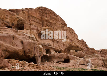 Caves in the world heritage site of Petra, Jordan, Middle East - Stock Photo