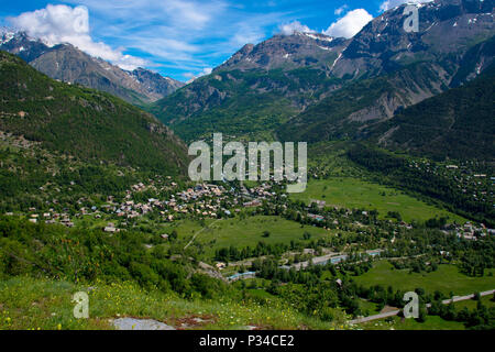 View to Vallouise from Puy Saint Vincent in the french alps - Stock Photo