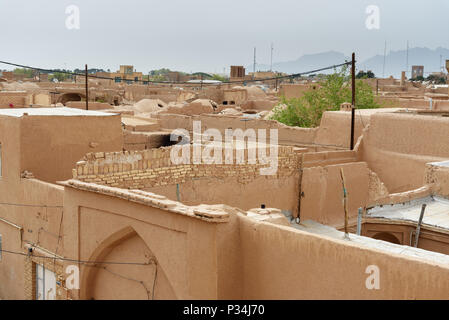 View of Old City, historic centre from roof in Yazd, Iran - Stock Photo